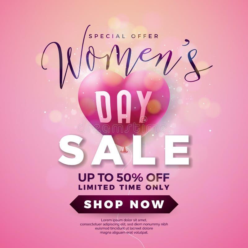 Projeto da venda do dia das mulheres com coração do balão de ar no fundo cor-de-rosa Molde floral da ilustração do vetor para o v ilustração do vetor