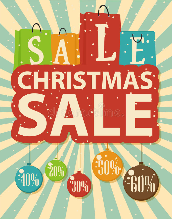 Projeto da venda do Natal com as bolas do saco de compras e do Natal ilustração stock