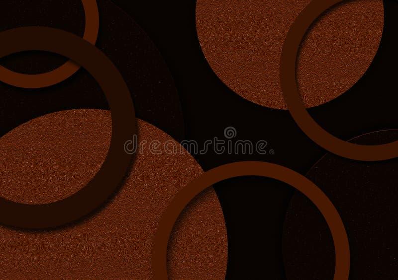 Projeto dado forma circular do fundo de Brown para o papel de parede ilustração stock