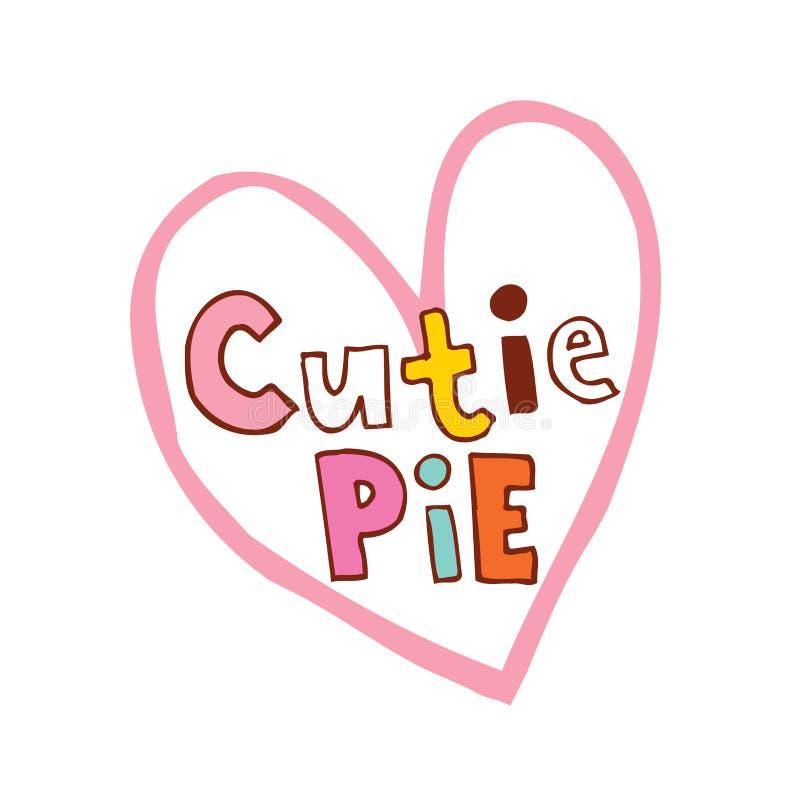 Projeto dado forma coração da torta de Cutie ilustração royalty free