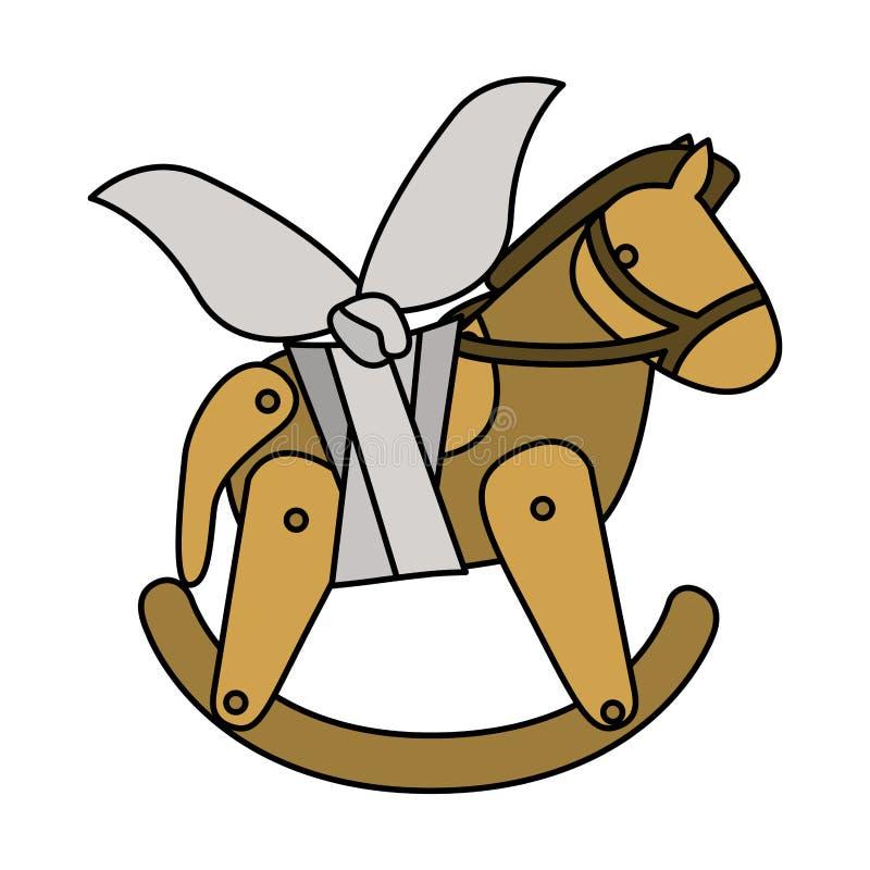 Projeto danificado cavalo isolado do brinquedo ilustração do vetor