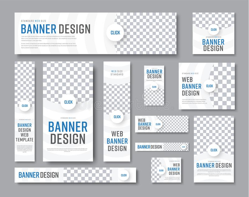 Projeto das bandeiras brancas de tamanhos padrão com um lugar para um pho ilustração royalty free