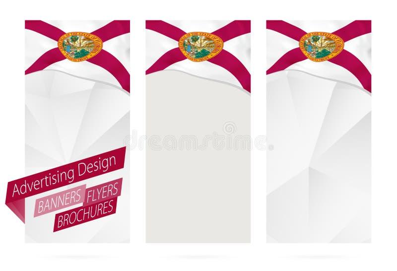 Projeto das bandeiras, insetos, folhetos com a bandeira do estado de Florida ilustração do vetor