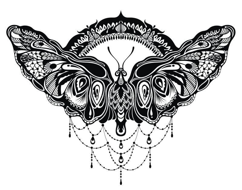 Projeto das borboletas no estilo da tatuagem ilustração stock
