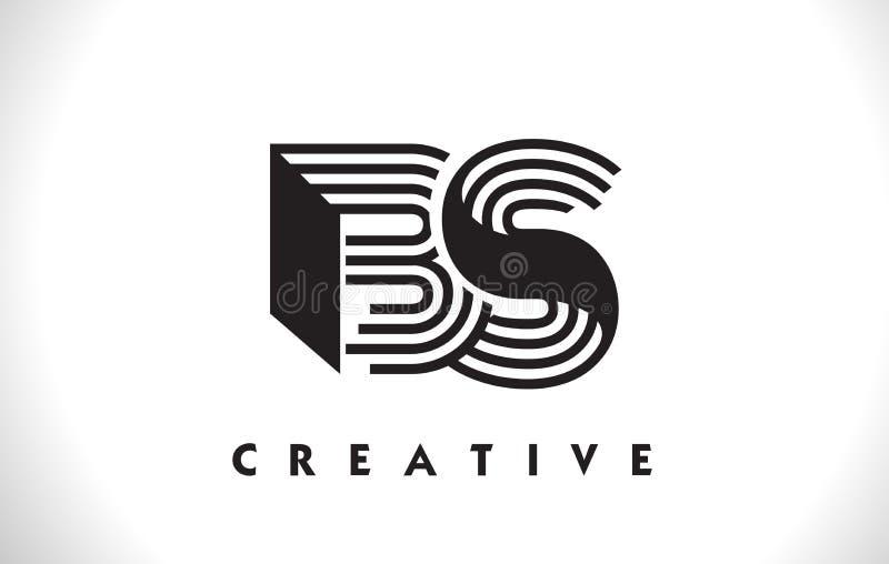 Projeto das BS Logo Letter With Black Lines Linha vetor Illus da letra ilustração stock