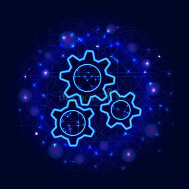 Projeto das engrenagens Engrenagem poli do wireframe três do vetor ilustração lisa moderna da baixa no fundo poligonal azul do su ilustração royalty free