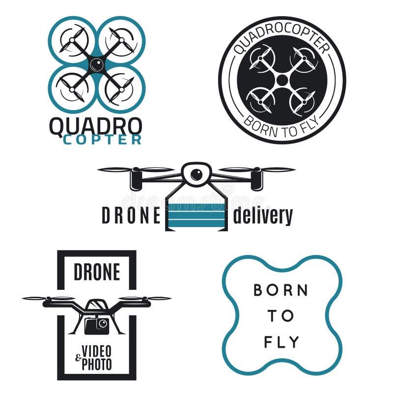 Projeto das etiquetas e dos ícones do zangão ilustração royalty free