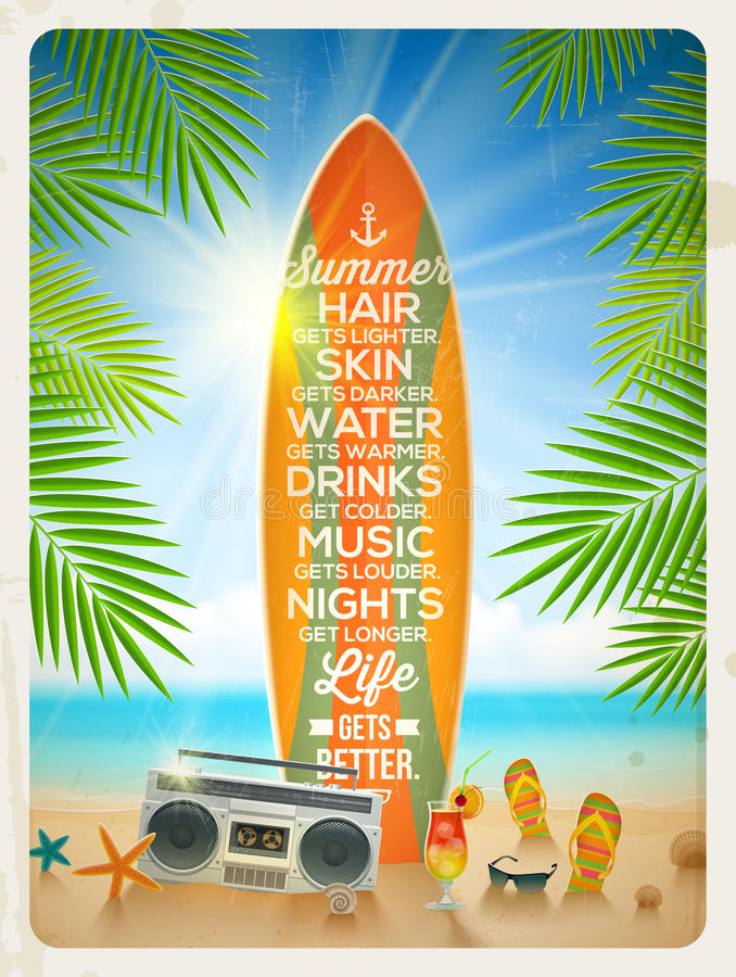 Projeto das férias de verão com citações ilustração royalty free