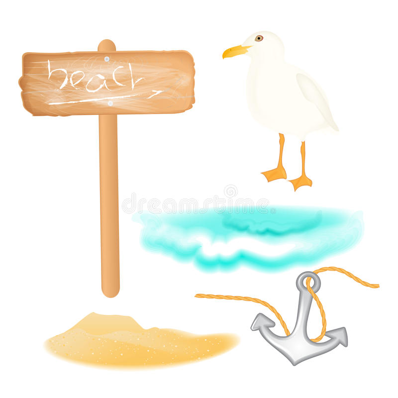 Projeto das férias de verão do vetor ajustado com tema do paraíso Lixe a ilha, a onda do mar, a âncora, o quadro indicador e a ga ilustração royalty free