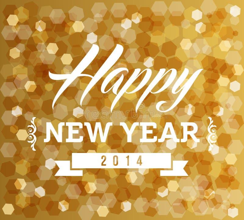 Projeto das luzes do borrão do ano novo feliz do vintage ilustração do vetor