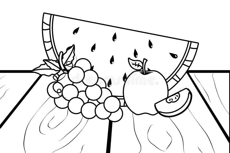 Projeto das uvas e da maçã da melancia ilustração stock
