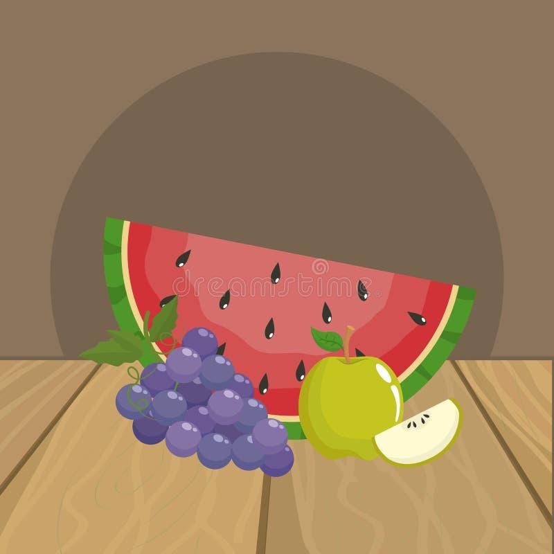 Projeto das uvas e da maçã da melancia ilustração do vetor