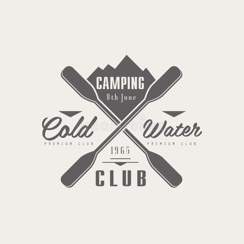 Projeto de acampamento do emblema do clube de Coldwater ilustração royalty free