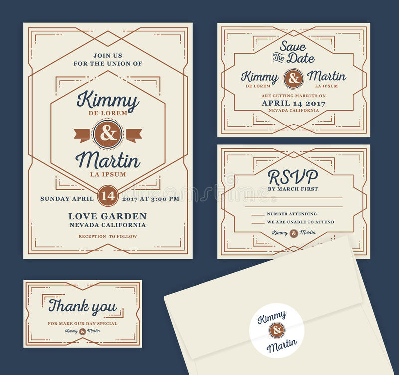 Projeto de Art Deco Letterpress Wedding Invitation ilustração stock