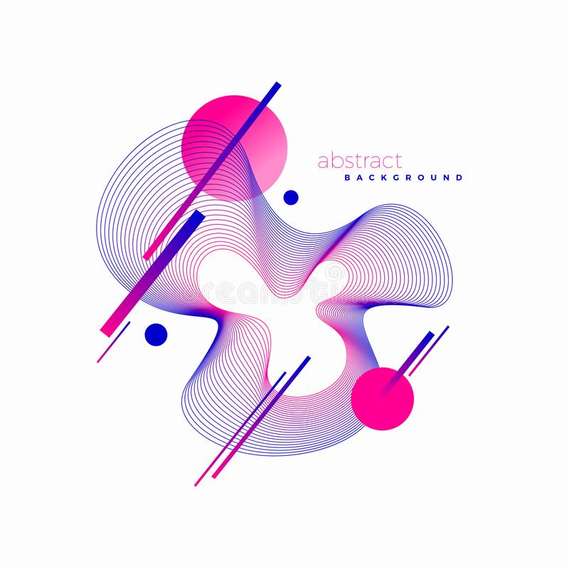 Projeto de Astract Ilustração vanguardista do sumário do estilo com elemento da forma de onda do guilloche ilustração stock