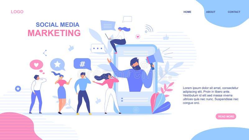 Projeto de aterrissagem da página para o mercado social dos meios foto de stock