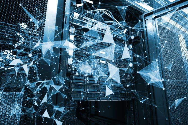 Projeto de banco de dados de computação da nuvem com rendição da folha de prova 3d do plexo foto de stock royalty free