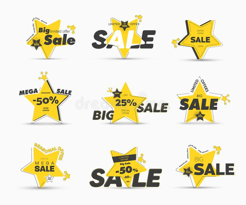 Projeto de bandeiras estrela-dadas forma amarelas do vetor com curso exterior assimétrico para a venda grande mega ilustração do vetor