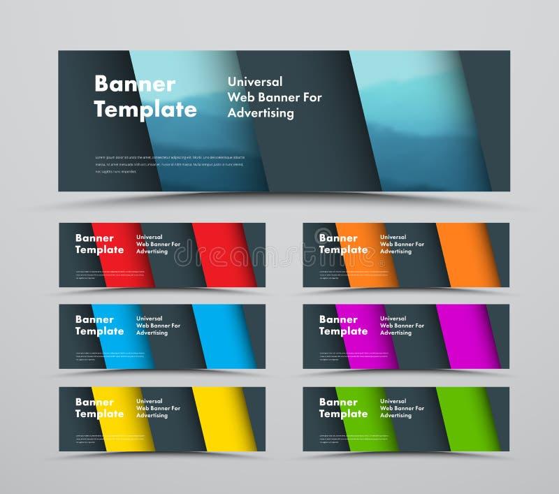 Projeto de bandeiras horizontais da Web do vetor com elementos materiais diagonais do projeto e de espaço para a foto ilustração do vetor