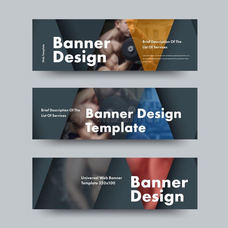 Projeto de bandeiras horizontais da Web do vetor preto com elementos de cor triangulares e de lugar para a foto ilustração royalty free
