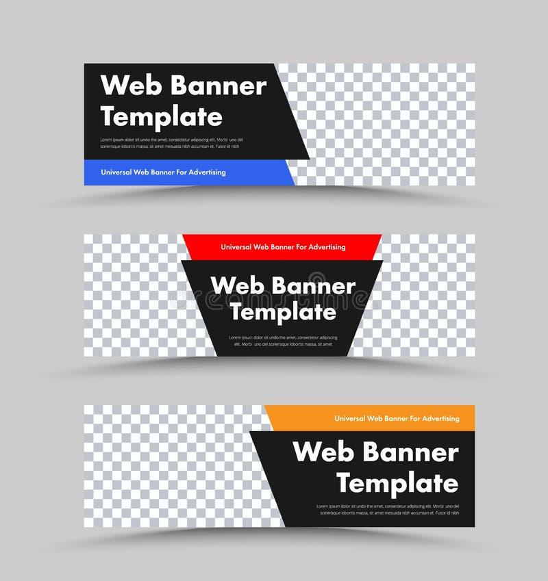 Projeto de bandeiras horizontais da Web do vetor preto com formas de canto do espaço e da cor da foto para o encabeçamento e o te ilustração do vetor