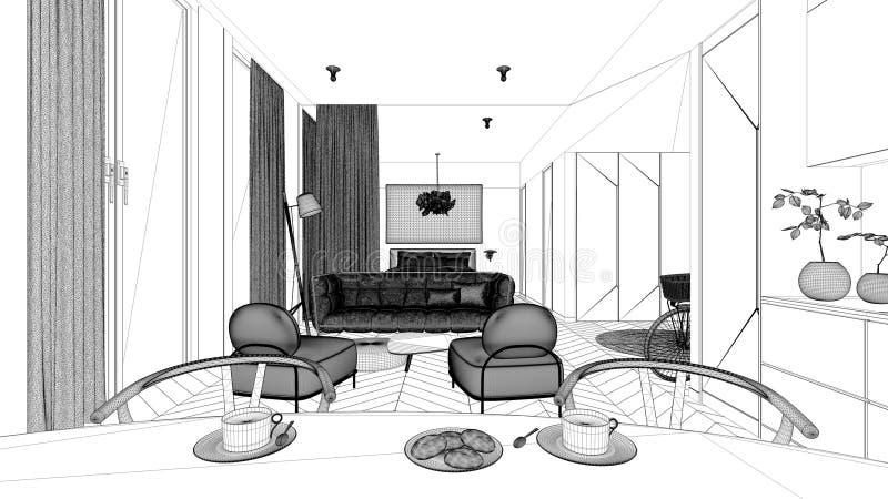 Projeto de projeto Blueprint, design de interior de um quarto, parquete, espaço aberto: cozinha com mesa de jantar, sala de estar ilustração stock
