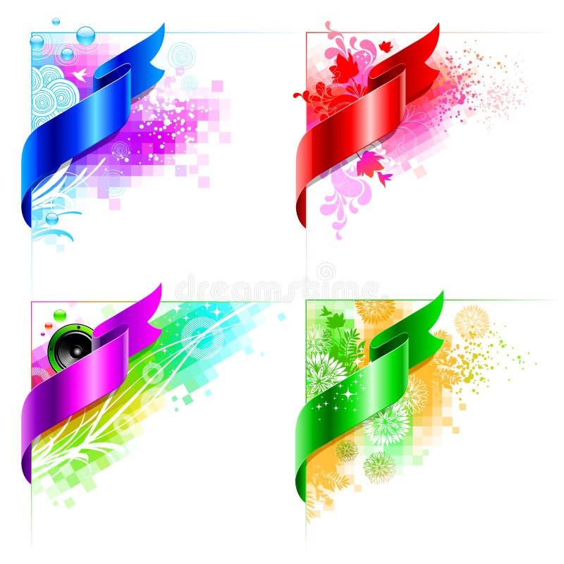 Projeto de canto abstrato do vetor com elementos florais ilustração royalty free