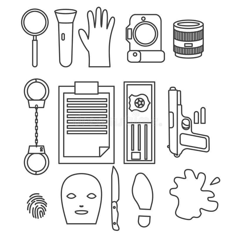 Projeto de caráter da ocupação do detetive, linha estilo dos desenhos animados A polícia projeta elementos e ícones ilustração stock