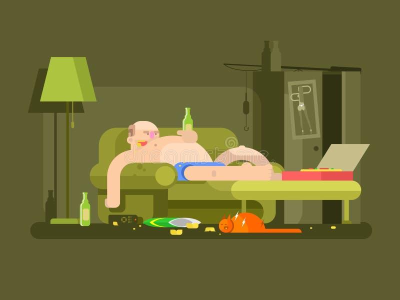 Projeto de caráter de Lazybones liso ilustração stock