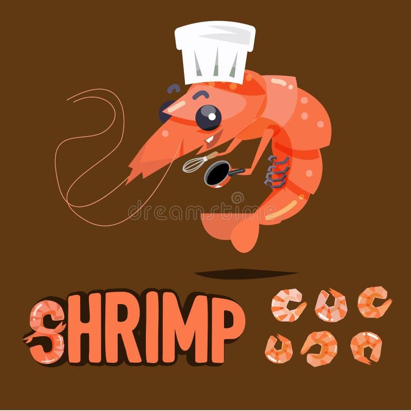 Projeto de caráter do cozinheiro chefe do camarão com a fervura e o camarão secado prontos a ilustração stock
