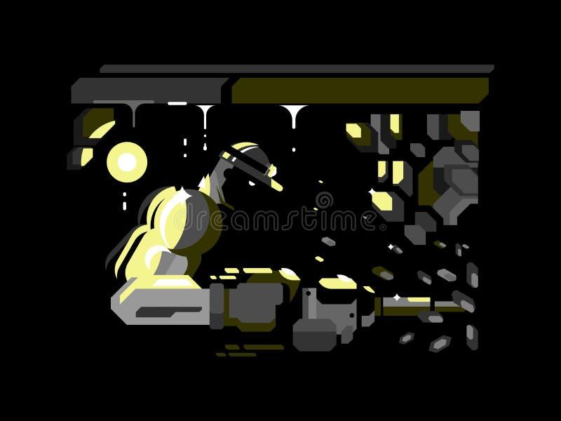 Projeto de caráter do mineiro liso ilustração do vetor