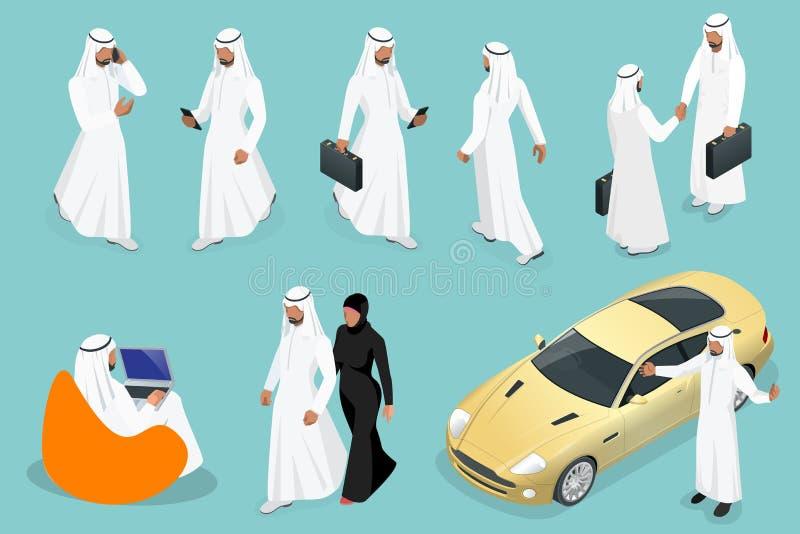 Projeto de caráter saudita com poses diferentes, carro do homem e da mulher do homem de negócios isométrico no fundo azul isolado ilustração royalty free