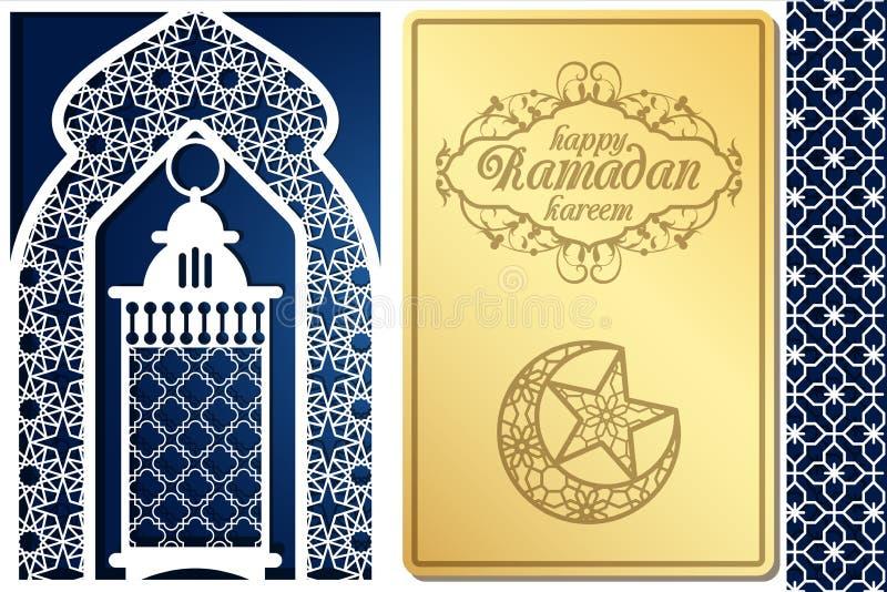 Projeto de cartão árabe do estilo para o corte do laser Imagem para o kareem islâmico tradicional da ramadã do feriado, bayram do ilustração royalty free
