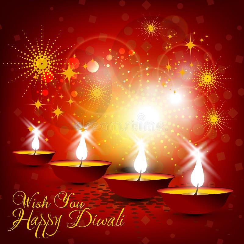 Projeto de cartão bonito do diwali na cor vermelha de incandescência brilhante b ilustração stock