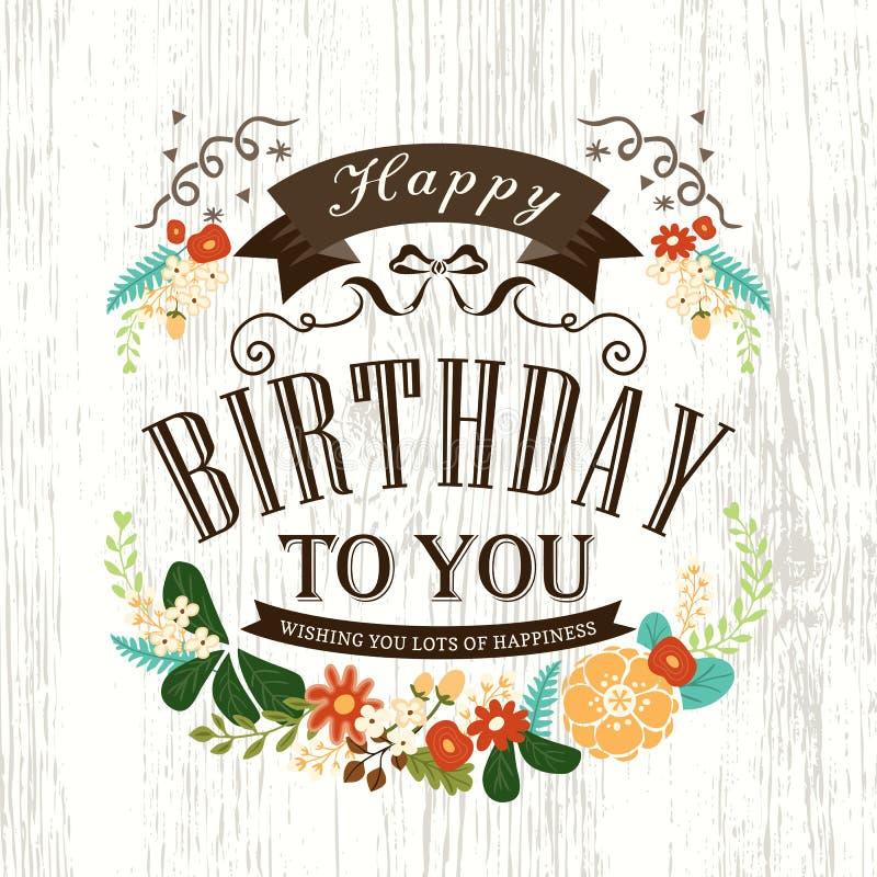 Projeto de cartão bonito do feliz aniversario ilustração do vetor