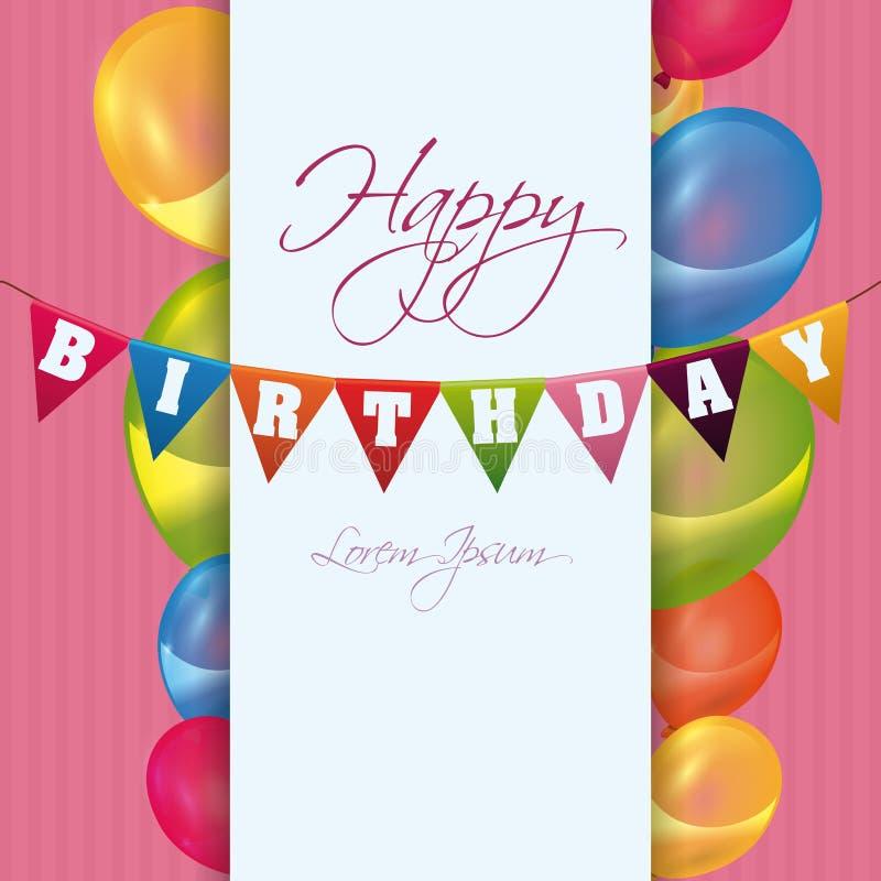 Projeto de cartão colorido do feliz aniversario ilustração do vetor