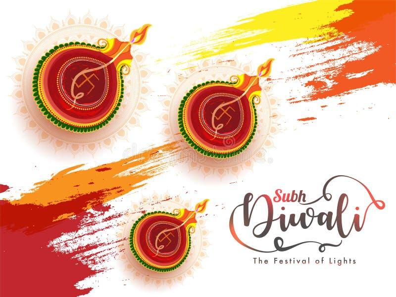 Projeto de cartão de comemoração do Subh Happy Diwali ilustração royalty free