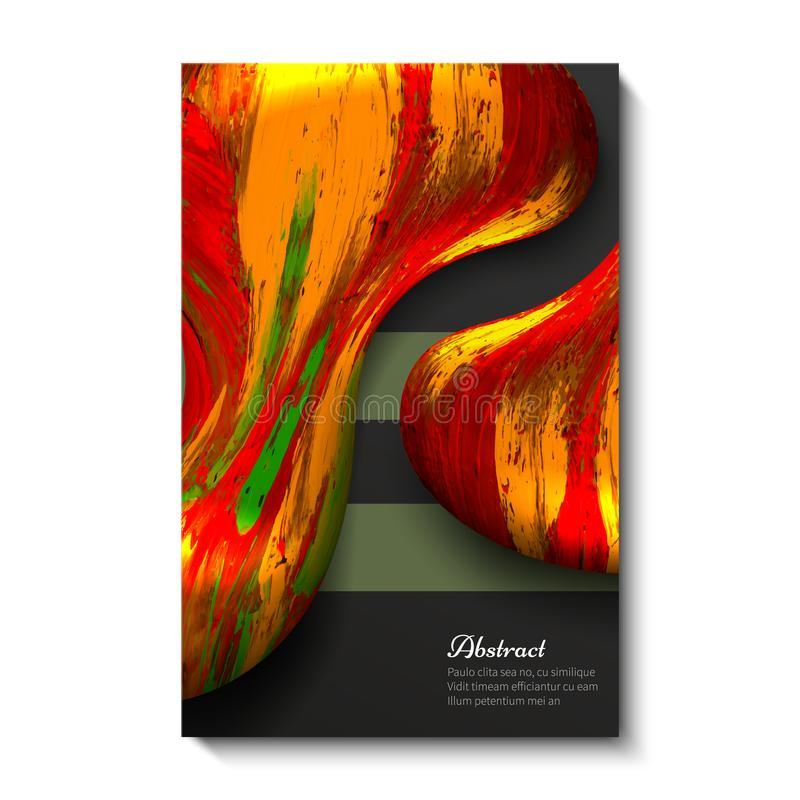 Projeto de cartão criativo, brilhante, universal, abstrato Fundo escuro Vermelho com amarelo ilustração do vetor