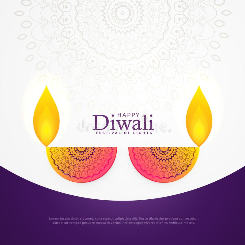 Projeto de cartão criativo do festival do cartaz da celebração do diwali ilustração royalty free