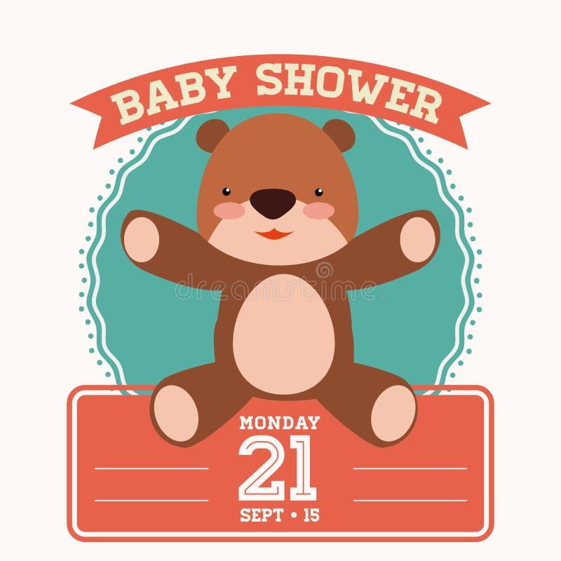 Projeto de cartão da festa do bebê ilustração royalty free