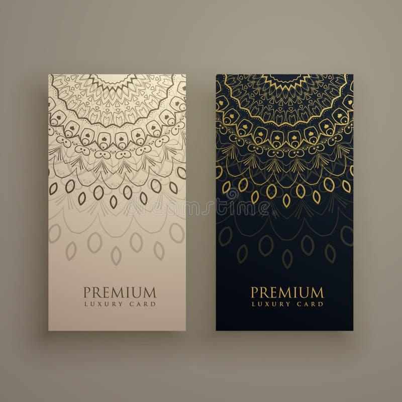 Projeto de cartão da mandala com a decoração decorativa na cor dourada ilustração royalty free