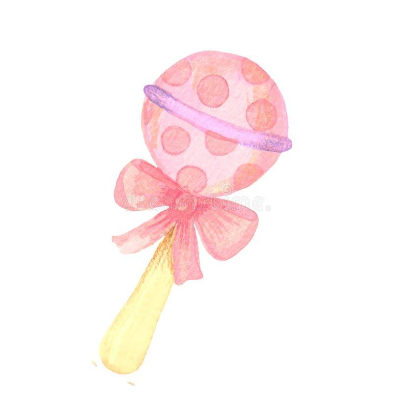 Projeto de cartão da menina da festa do bebê com rosa e brilho da aquarela do sumário imagens de stock royalty free