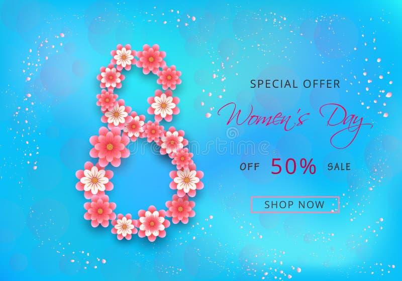 Projeto de cartão da oferta da venda do dia das mulheres felizes com as flores cor-de-rosa do papel-corte ilustração stock