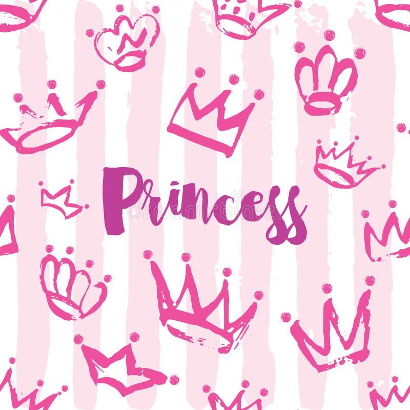 Projeto de cartão da princesa Entregue o teste padrão tirado da coroa na cor cor-de-rosa em fundo listrado ilustração royalty free