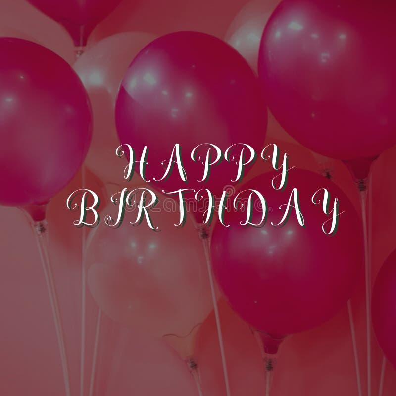 Projeto de cartão do aniversário com fundo do balão fotografia de stock