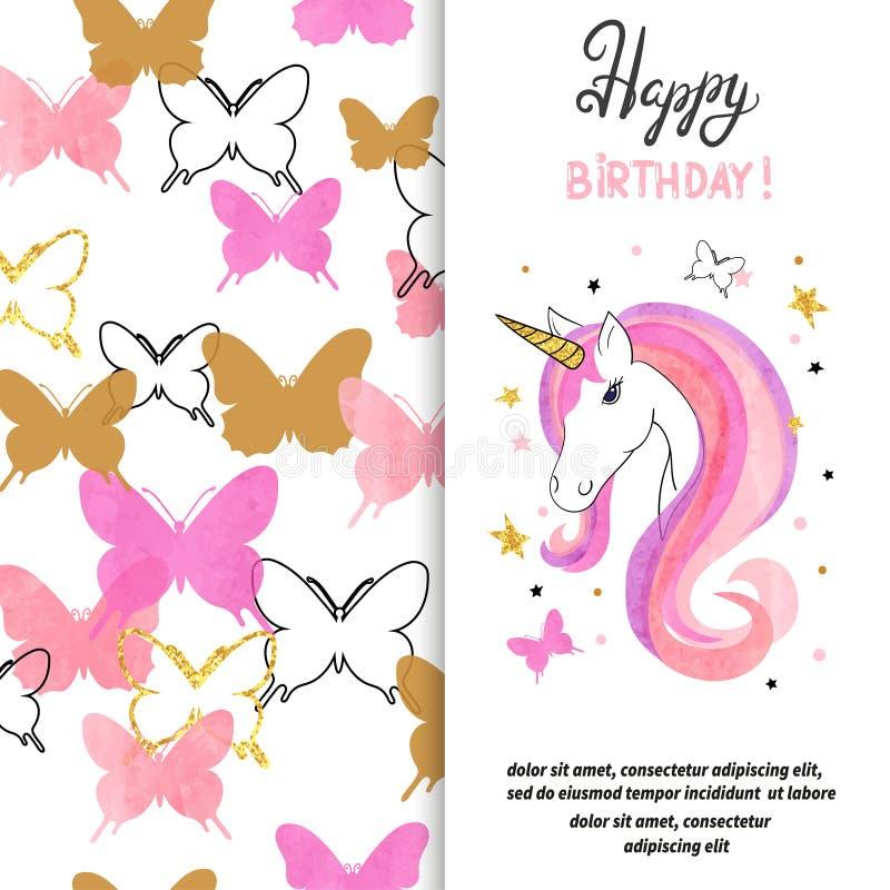 Projeto de cartão do aniversário com unicórnio bonito para a menina ilustração do vetor
