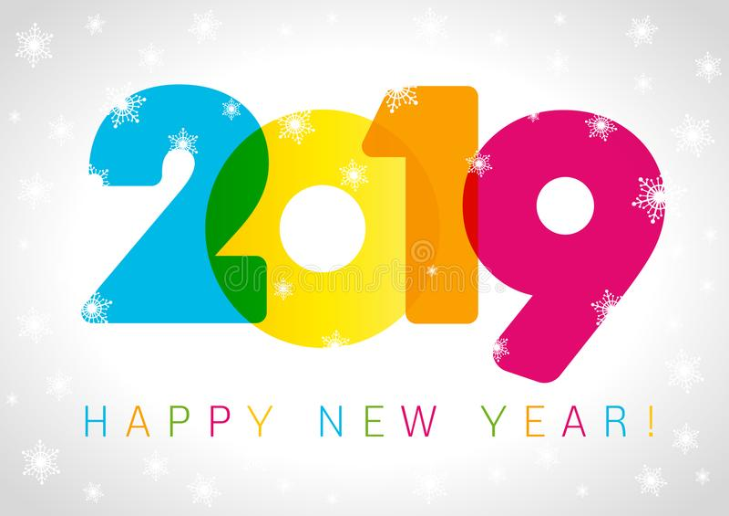 Projeto de cartão do ano 2019 novo feliz ilustração royalty free