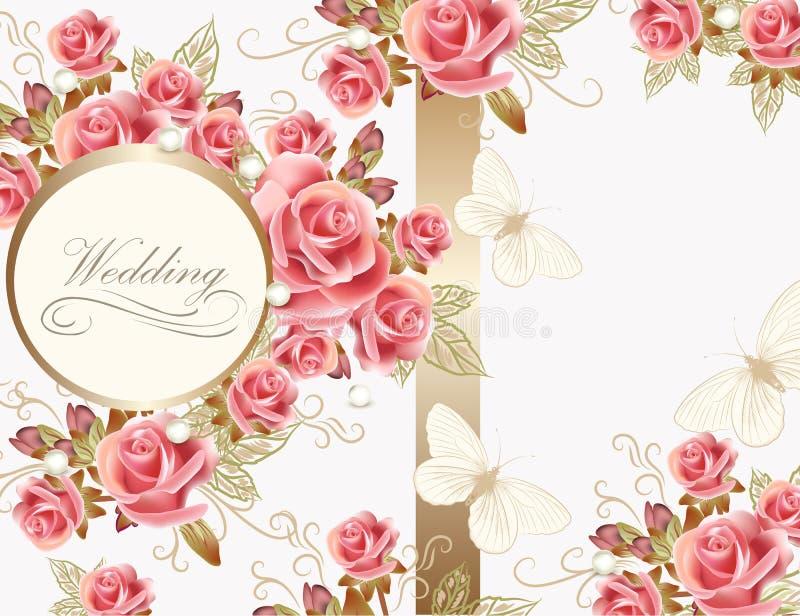 Projeto de cartão do casamento com rosas ilustração royalty free
