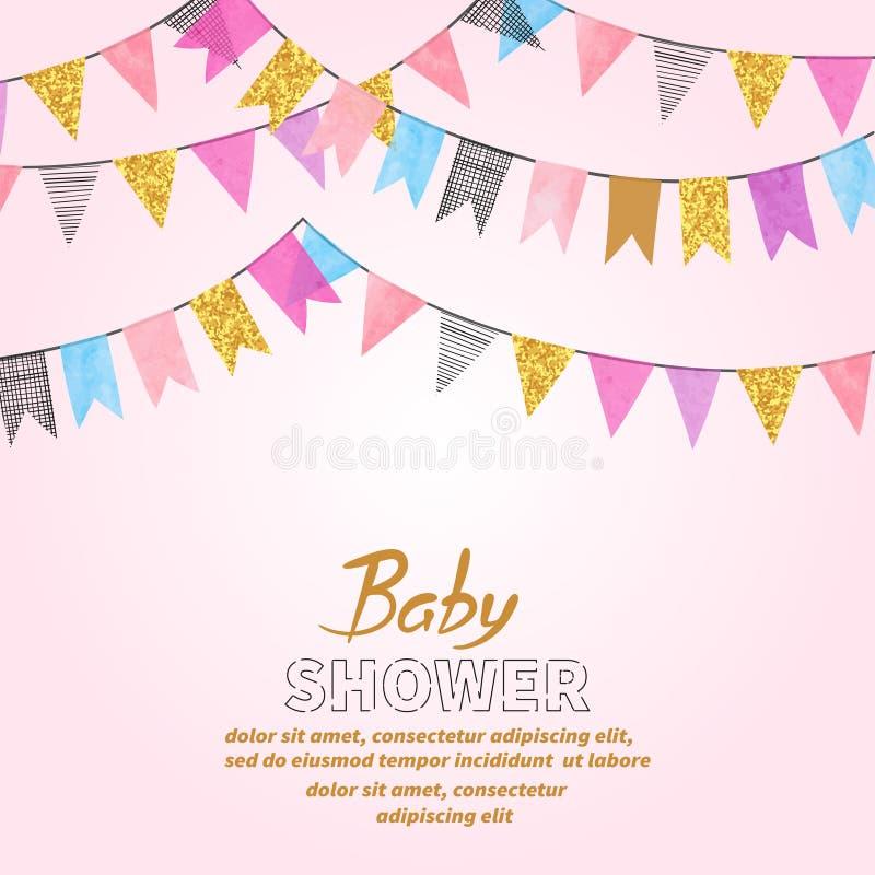 Projeto de cartão do convite da festa do bebê com estamenhas ilustração royalty free