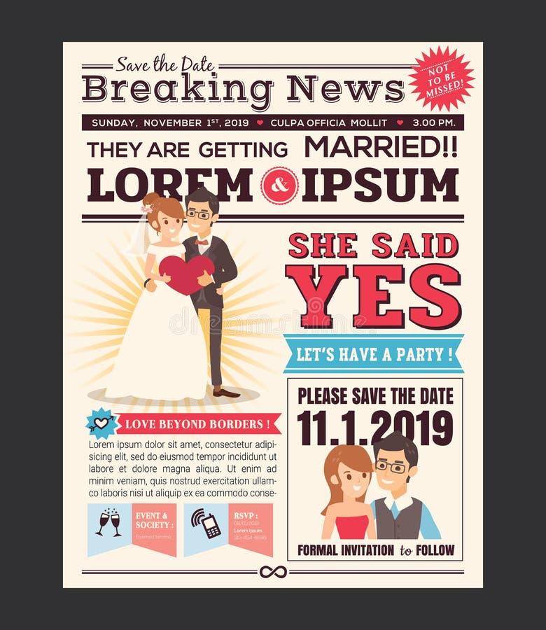 Projeto de cartão do convite do casamento do jornal dos desenhos animados ilustração stock